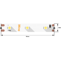 Лента светодиодная стандарт 3528, 60 LED/м, 4,8 Вт/м, 12В , IP20, Цвет: Красный