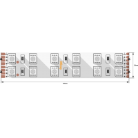 Лента светодиодная стандарт 5050, 120 LED/м, 28,8 Вт/м, 24В , IP65, Цвет: RGB