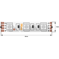 Лента светодиодная стандарт 5050, 60 LED/м, 14,4 Вт/м, 12В , IP20, Цвет: RGB